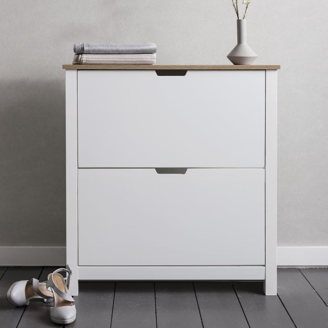 Noa and Nani Tromso Shoe Storage Unit in White and Natural Shoe Cabinet