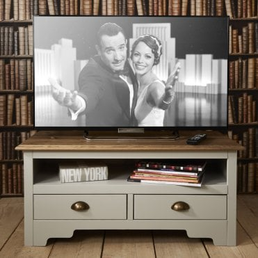 TV Unit Canterbury in Silk Grey and Dark Pine TV Cabinet