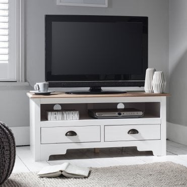 Noa and Nani TV Unit Canterbury in White and Dark Pine TV Cabinet