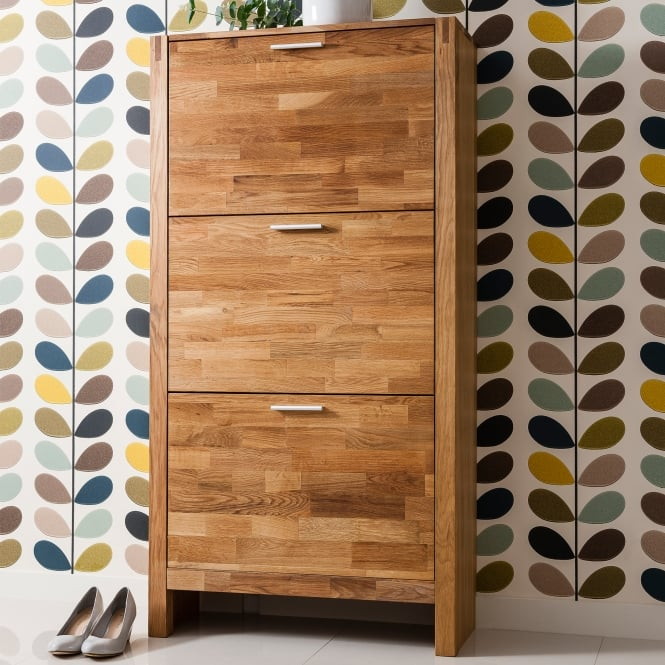 Noa and Nani Vermont Solid Oak Shoe Storage Cabinet 3 Drawer