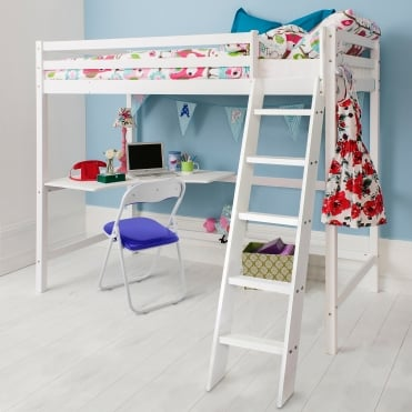 Noa and Nani White High Sleeper Cabin Bed
