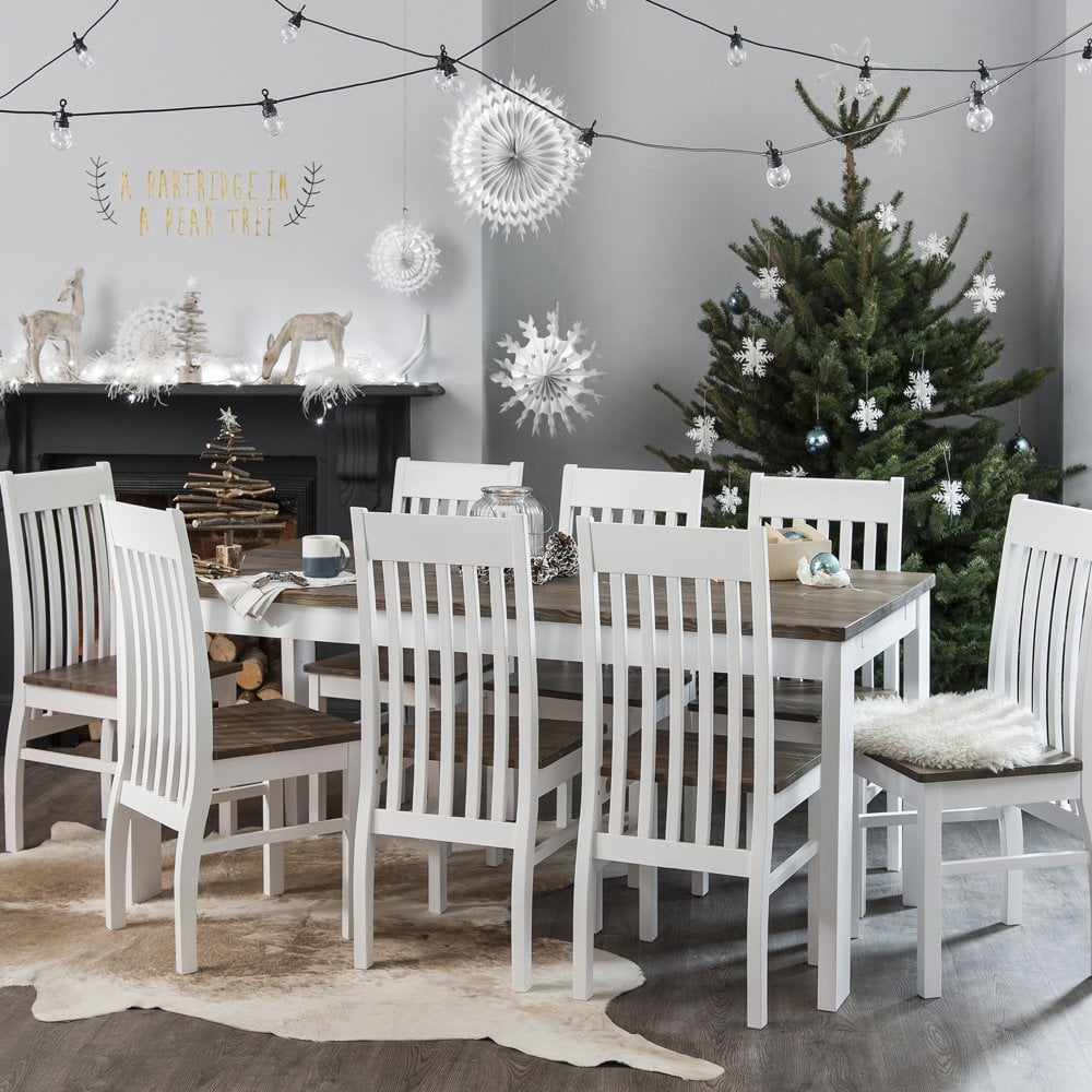 Outstanding Nordic Dining Table With 6 Chairs In White And Dark Pine Ncnpc Chair Design For Home Ncnpcorg