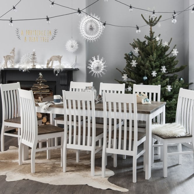 Dining Table And Chairs Canterbury White And Dark Pine: Nordic Dining Table With 6 Chairs In White & Dark Pine