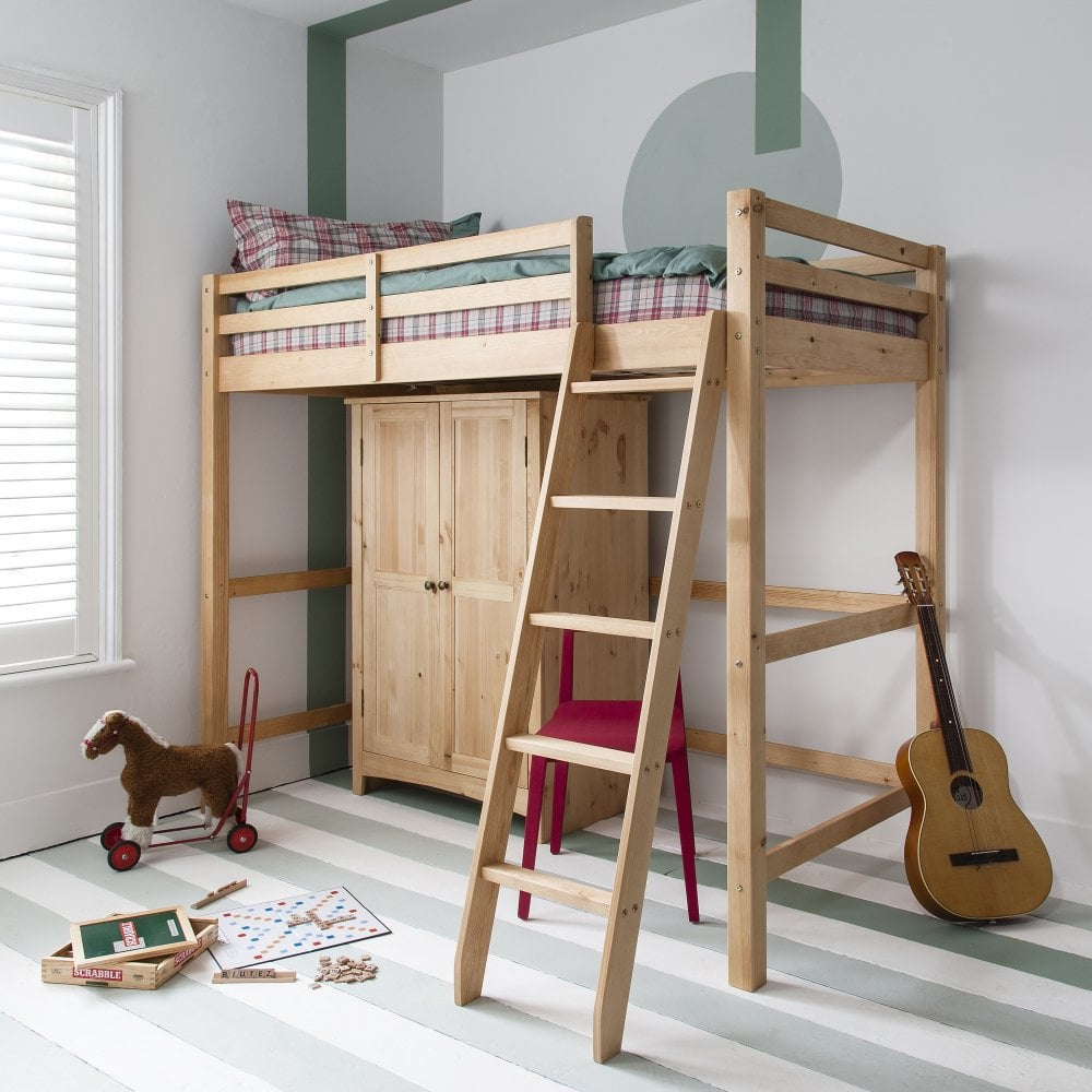 Natural Pine High Sleeper Cabin Bed with Desk  0375782d4