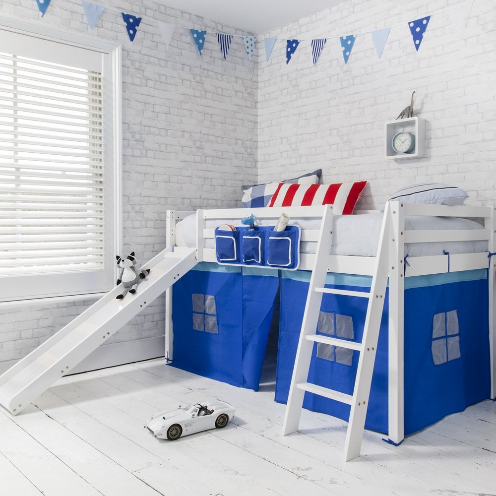 Oskar Mid Sleeper Shorty Cabin Bed in Blue | Noa & Nani