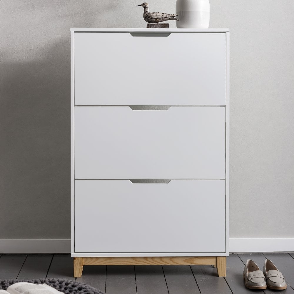 Superbe Oslo Shoe Storage Unit In White And Natural Shoe Cabinet