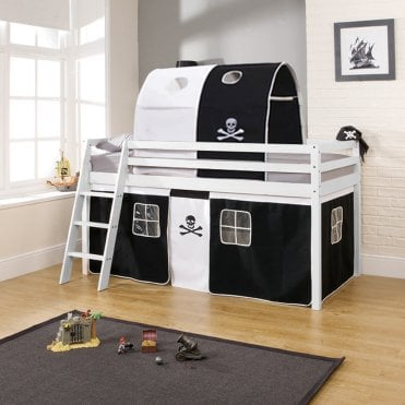 Cabin Bed with Tent, Tunnel & Mattress in Pirate Design