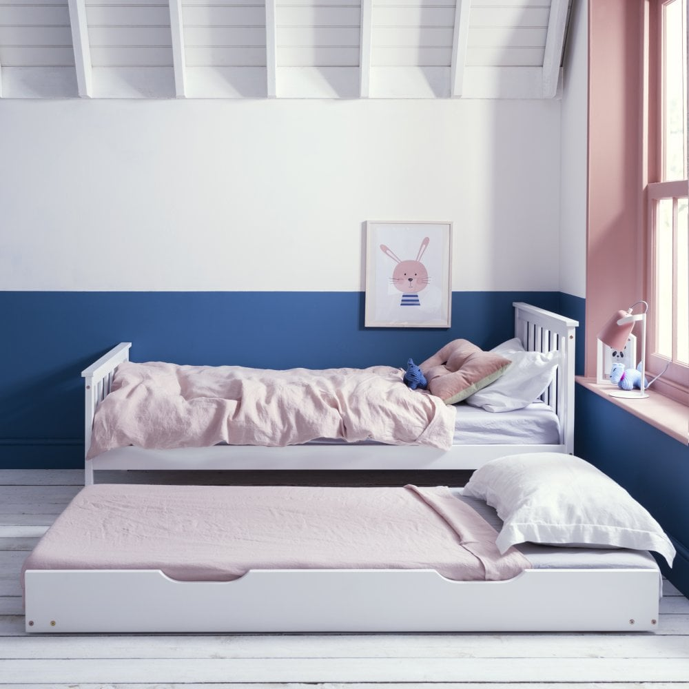 White Single Bed Uk Part - 33: Pull Out Spacesaver Trundle Bed In White