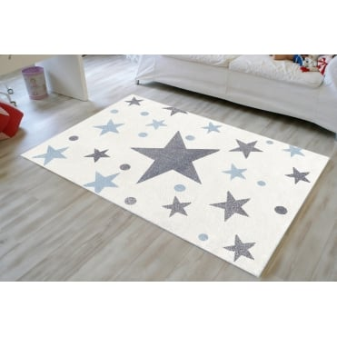 Rug with Stars in Cream and Blue 150cm x 80cm