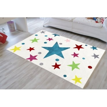 Rug with Stars in Cream and Multicolour 150cm x 80cm