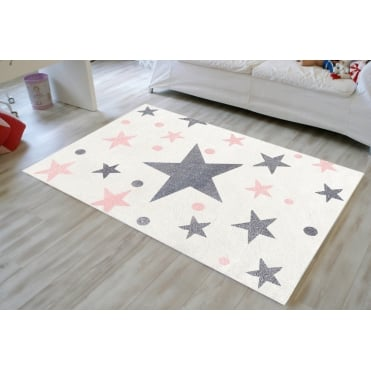 Rug with Stars in Cream and Pink 150cm x 80cm