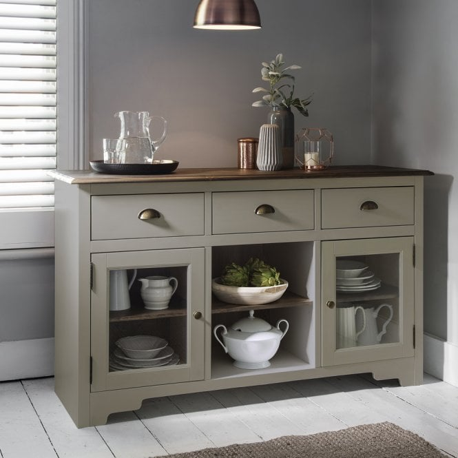 Sideboard Canterbury in Silk Grey and Dark Pine 3 Drawer
