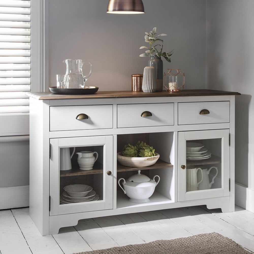 Merveilleux Sideboard Canterbury In White And Dark Pine 3 Drawer