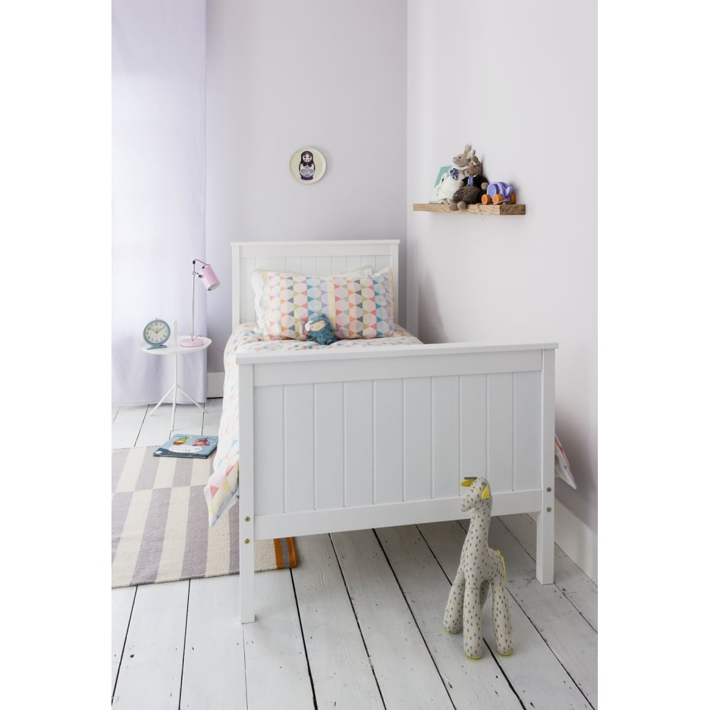 White Single Bed Uk Part - 42: Single Bed Portland Contemporary Bed In White
