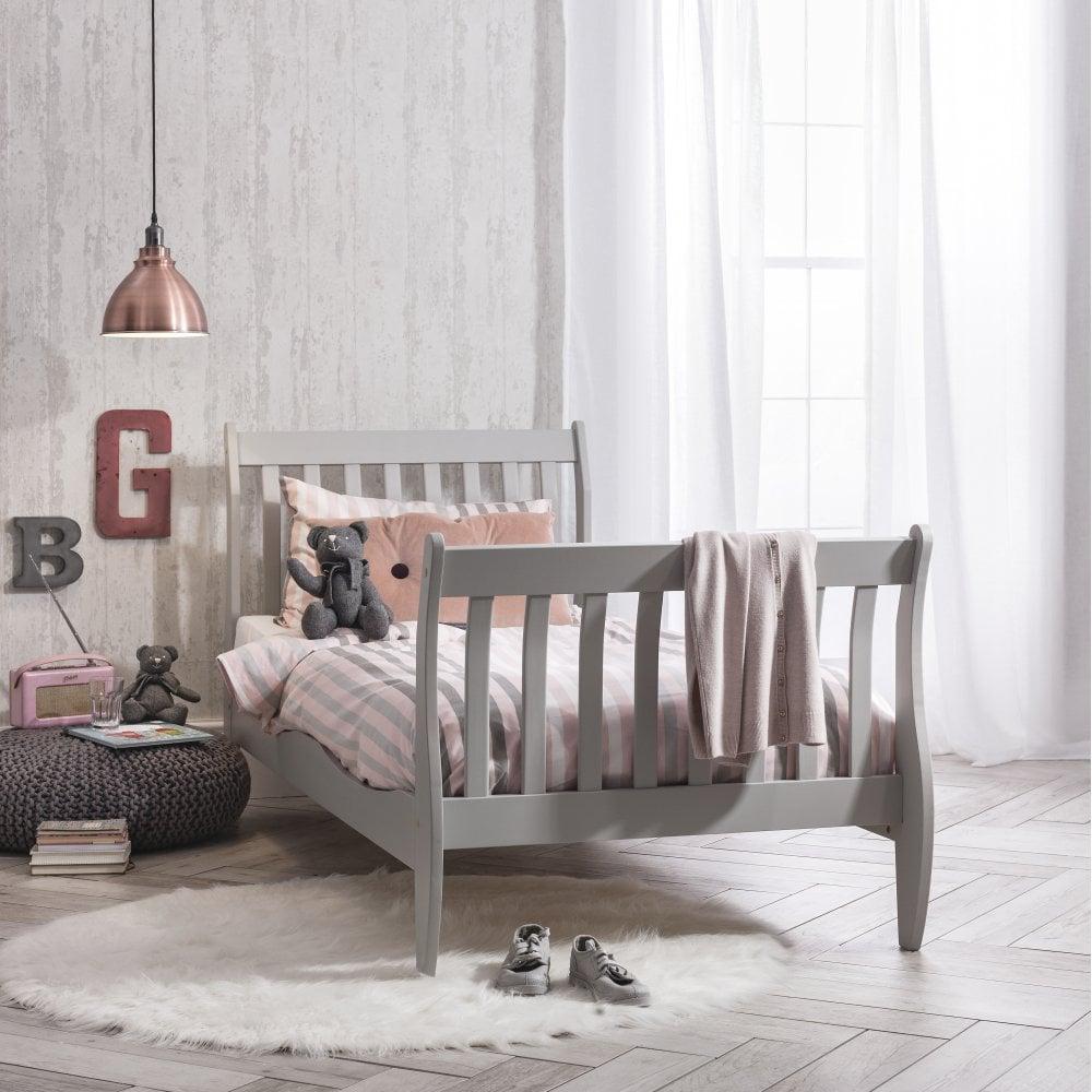 - Astrid Single Sleigh Bed In Silk Grey Noa & Nani