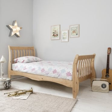 Single Bed Sleigh Frame Astrid in Natural