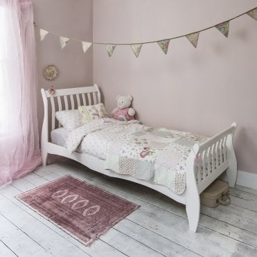 Single Bed Sleigh Frame Astrid in White