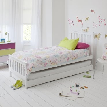 Single Millie Bed in White with Trundle Extra Sleepover Bed 2 in 1