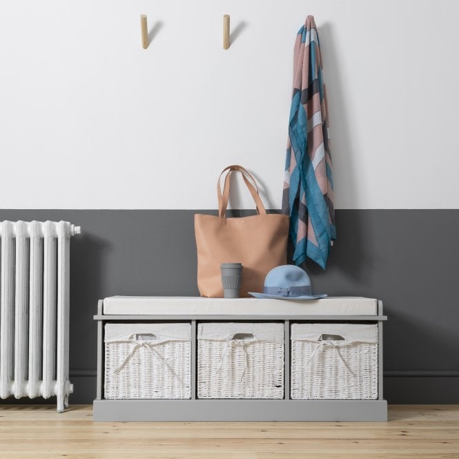 Storage Bench in Grey with 3 Baskets