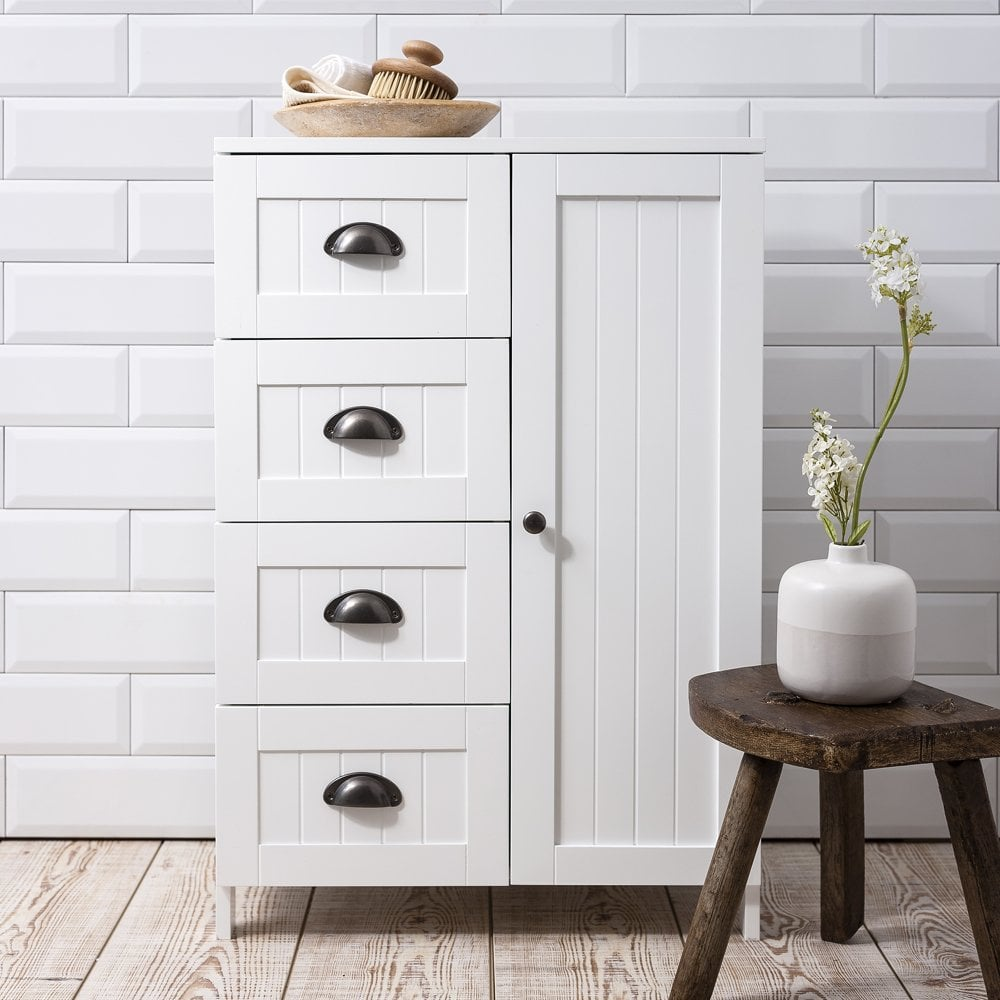 Stow Bathroom Cabinet Storage Cupboard In White Noa Nani