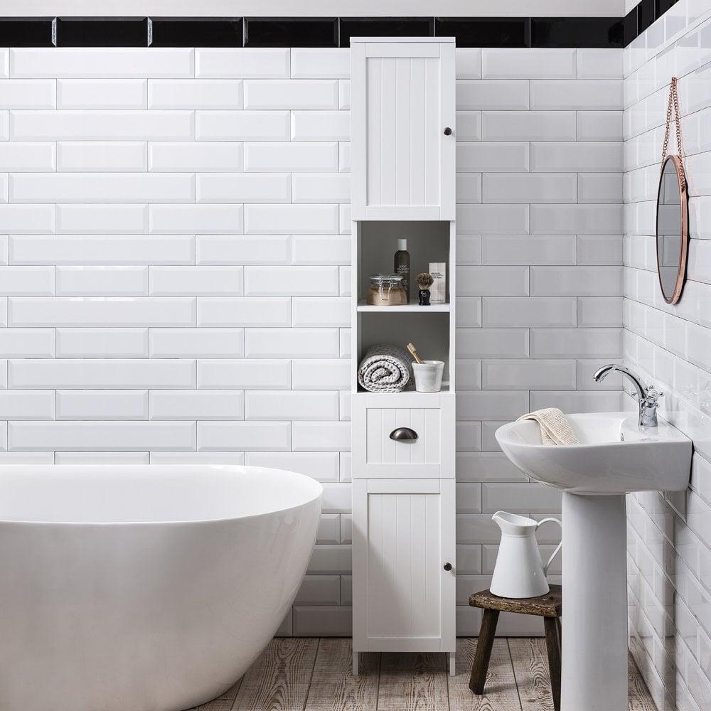 White Hallway Storage Furniture: Stow Tallboy Bathroom Cabinet Hallway Storage Unit