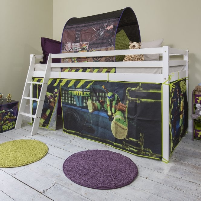 Teenage Mutant Ninja Turtles Cabin Bed with Ladder and Tent in TMNT Design