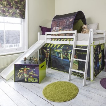 Teenage Mutant Ninja Turtles Cabin Bed with Slide and Tent in TMNT Design