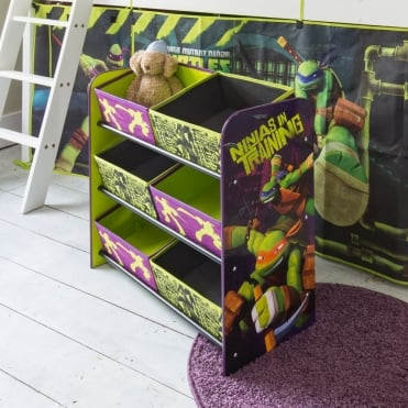 Teenage Mutant Ninja Turtles Toy Storage Unit 6 Bin in TMNT design