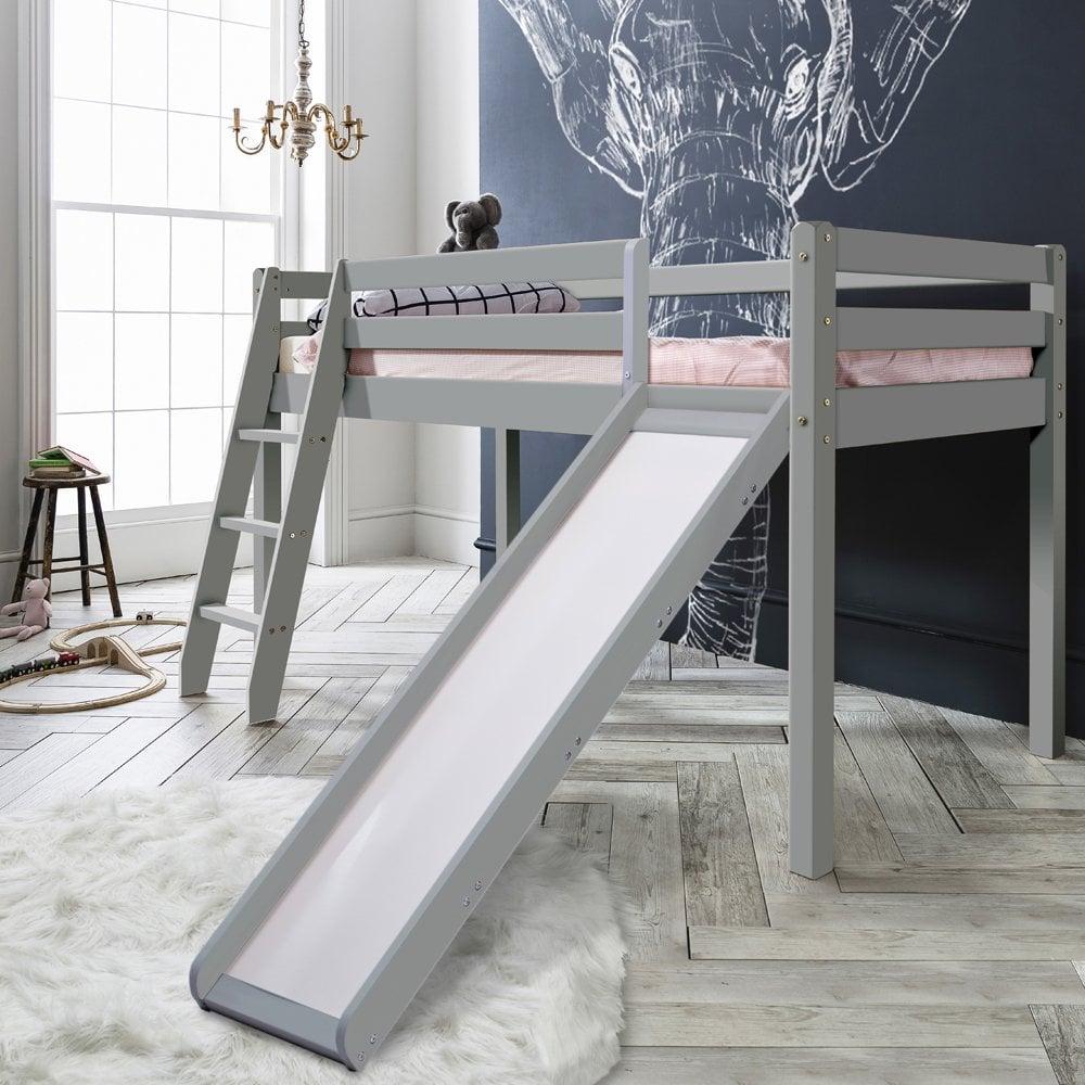Thor Mid Sleeper Cabin Bed with Slide in Silk Grey | Noa ...
