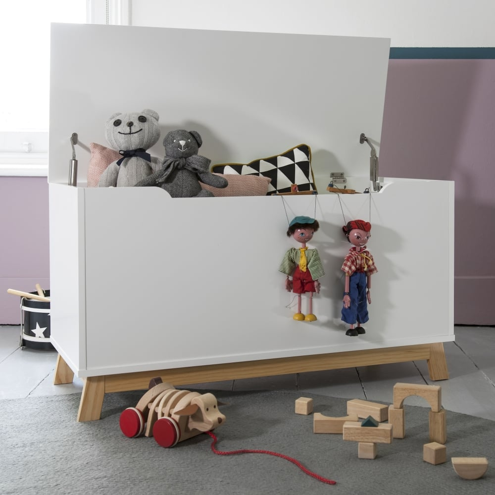Childrens Jumbo Bedroom Room Tidy Toy Storage Chest Box Trunk: Toy Box In White Toy Storage With Natural Pine Legs