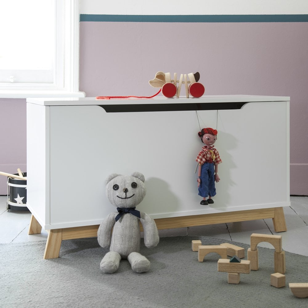 Attractive Toy Box In White Toy Storage With Natural Pine Legs