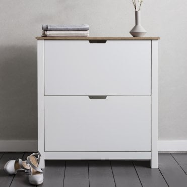 Tromso Shoe Storage Unit in White and Natural Shoe Cabinet