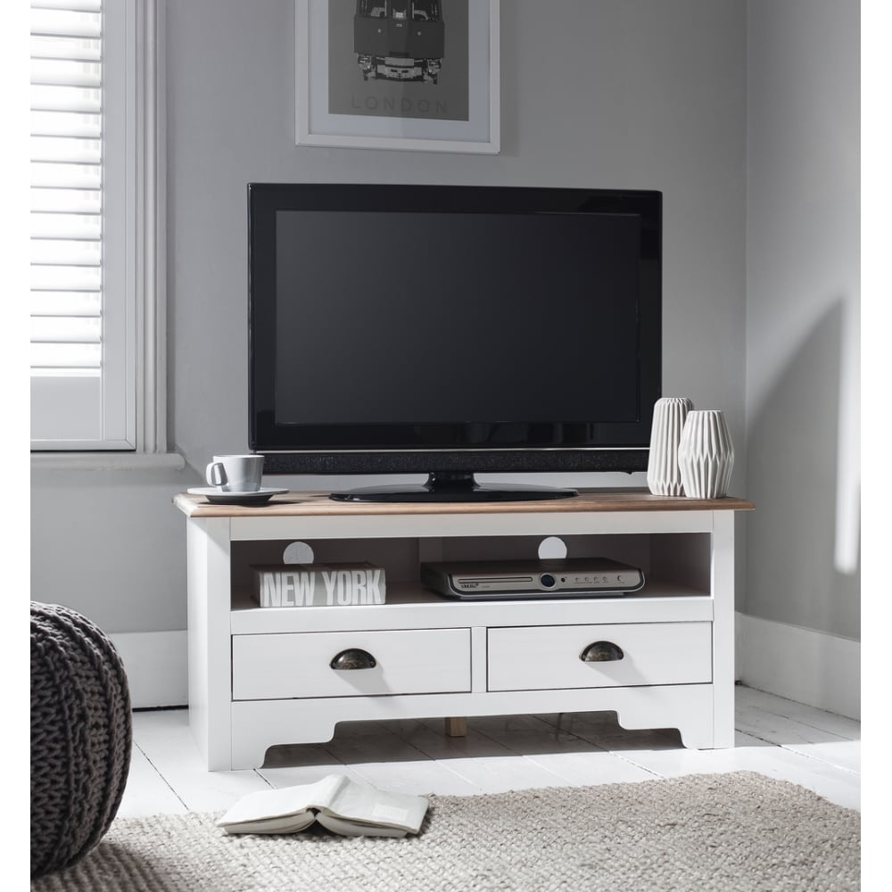 Canterbury Tv Unit In White Dark Pine Noa Nani