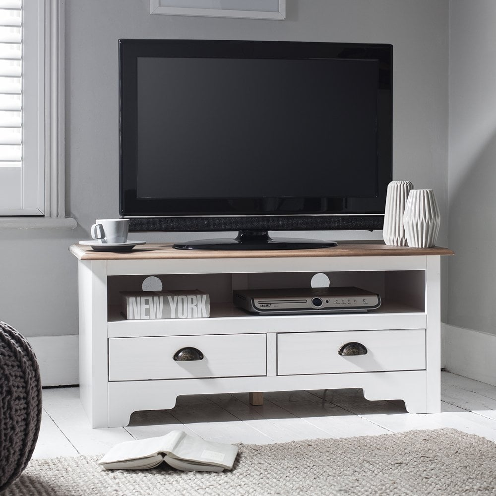 Exceptionnel TV Unit Canterbury In White And Dark Pine TV Cabinet