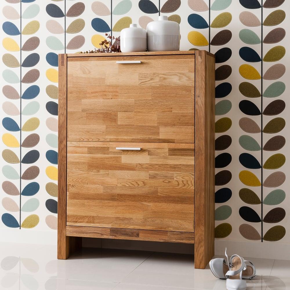 Vermont solid oak shoe storage cabinet 2 drawer