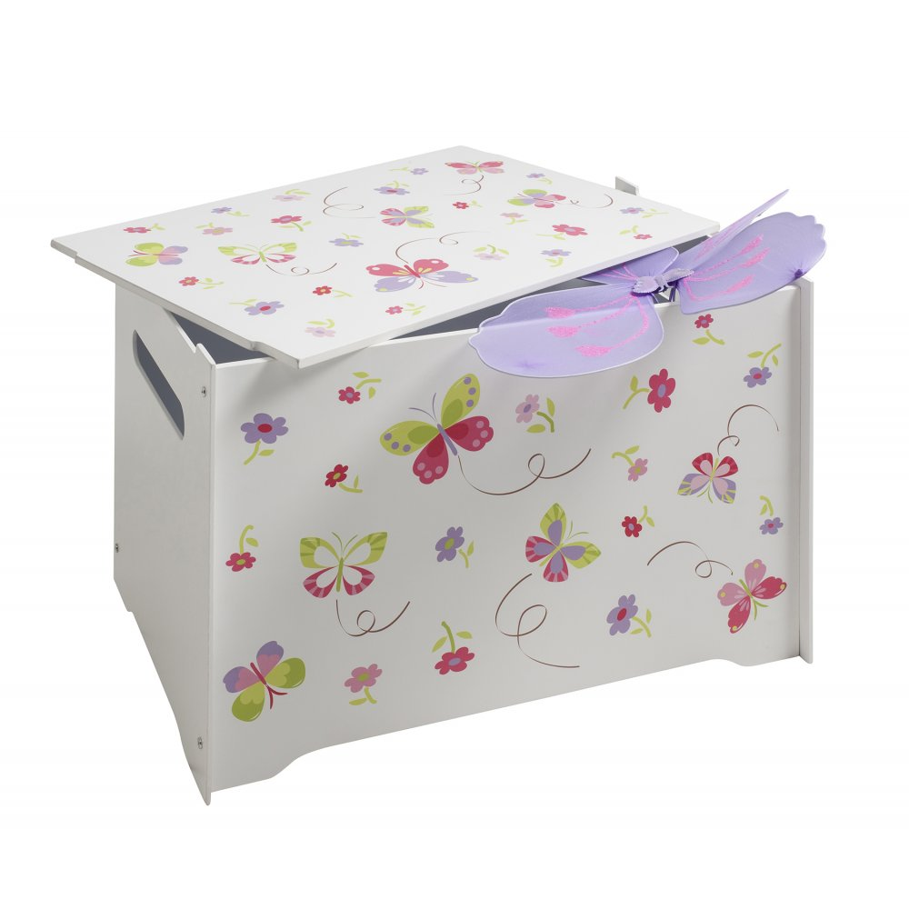 wooden toy box with butterflies design