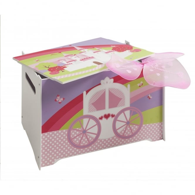 Princess Fairytale Wooden Toy Box with Princess Fairytale design